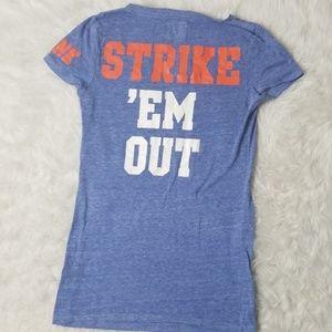 NY Mets VS PINK vneck graphic tee top shirt Sm